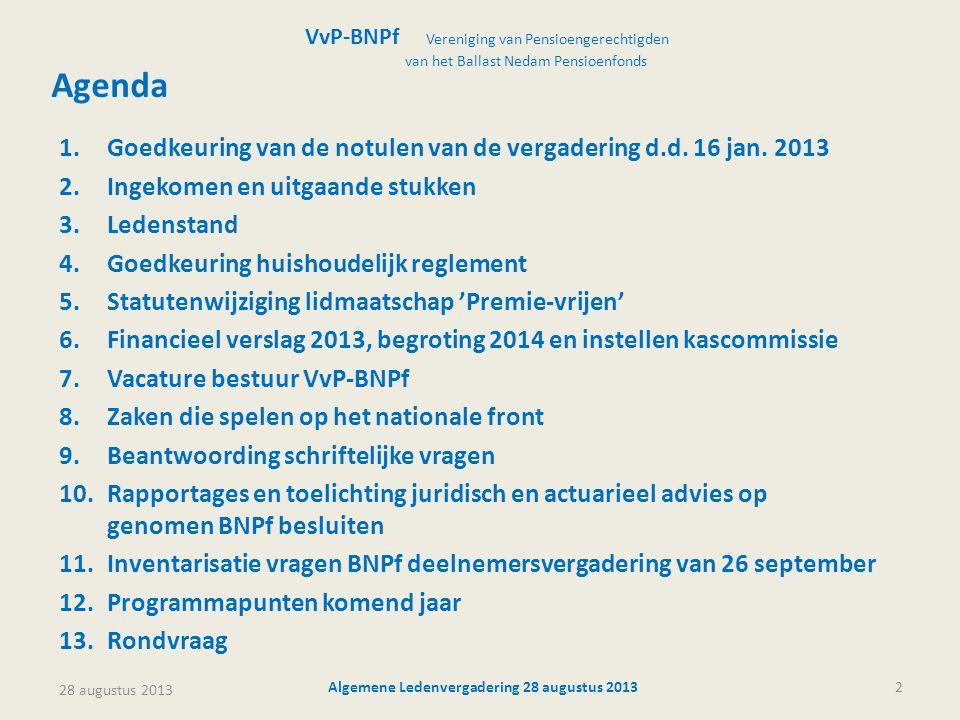 Algemene Ledenvergadering 28 augustus 20132 Agenda VvP-BNPf Vereniging van Pensioengerechtigden van het Ballast Nedam Pensioenfonds 1.Goedkeuring van
