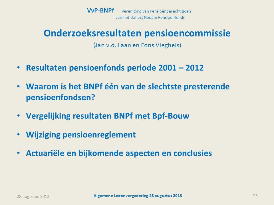 28 augustus 2013 Algemene Ledenvergadering 28 augustus 201323 Onderzoeksresultaten pensioencommissie (Jan v.d. Laan en Fons Vleghels) • Resultaten pen