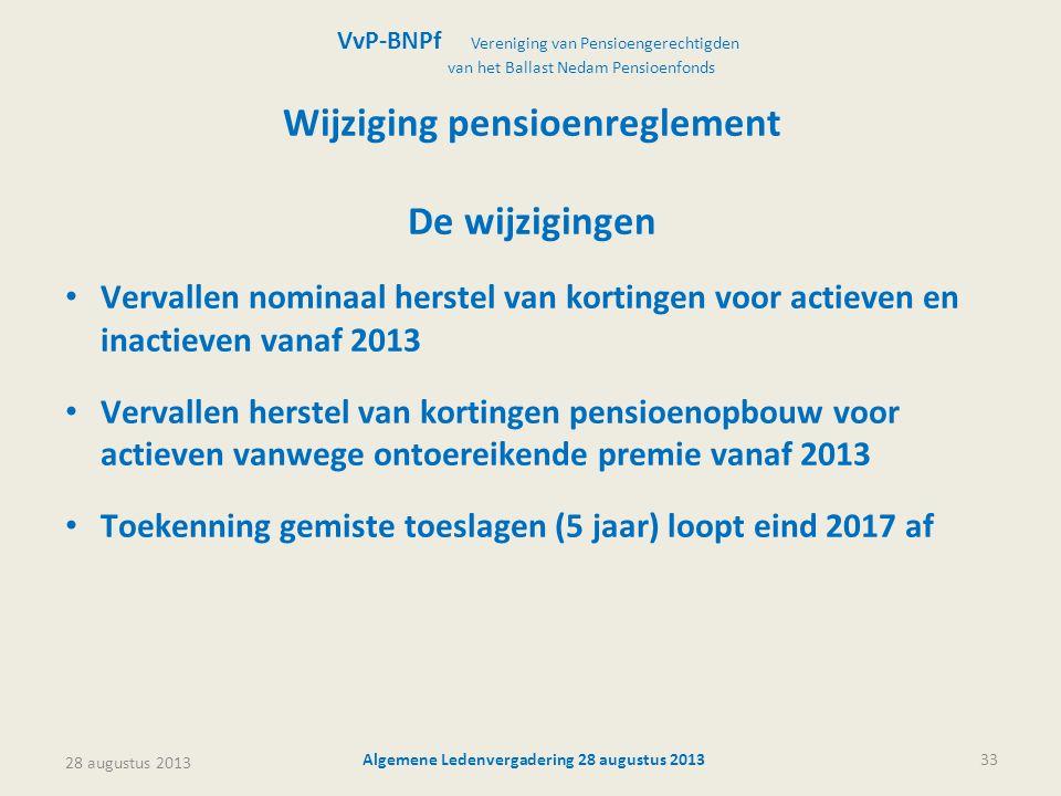 28 augustus 2013 Algemene Ledenvergadering 28 augustus 201333 Wijziging pensioenreglement De wijzigingen • Vervallen nominaal herstel van kortingen vo