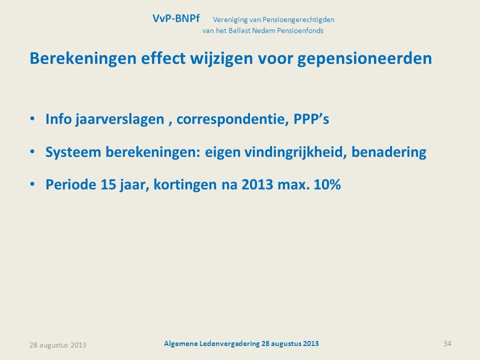 28 augustus 2013 Algemene Ledenvergadering 28 augustus 201334 Berekeningen effect wijzigen voor gepensioneerden • Info jaarverslagen, correspondentie,