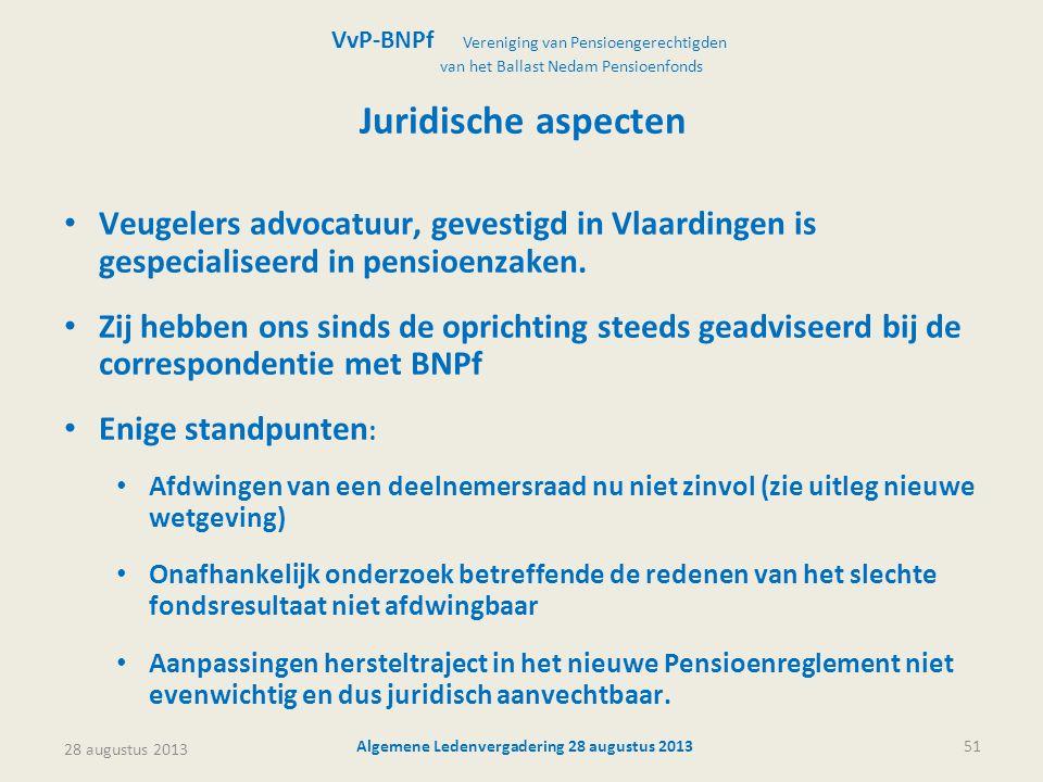 28 augustus 2013 Algemene Ledenvergadering 28 augustus 201351 Juridische aspecten • Veugelers advocatuur, gevestigd in Vlaardingen is gespecialiseerd