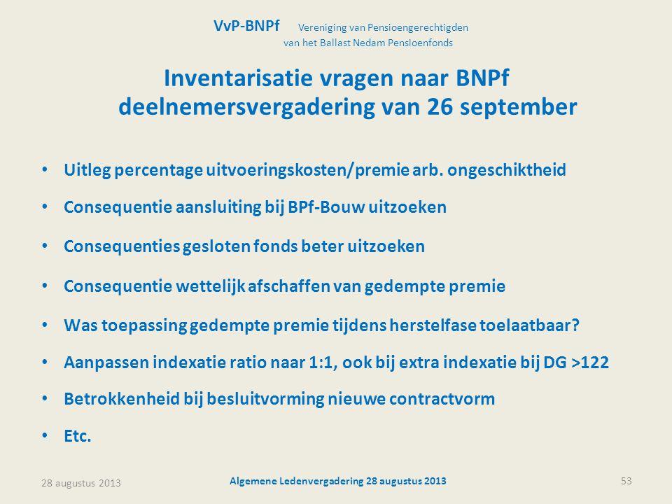 28 augustus 2013 Algemene Ledenvergadering 28 augustus 201353 Inventarisatie vragen naar BNPf deelnemersvergadering van 26 september • Uitleg percenta