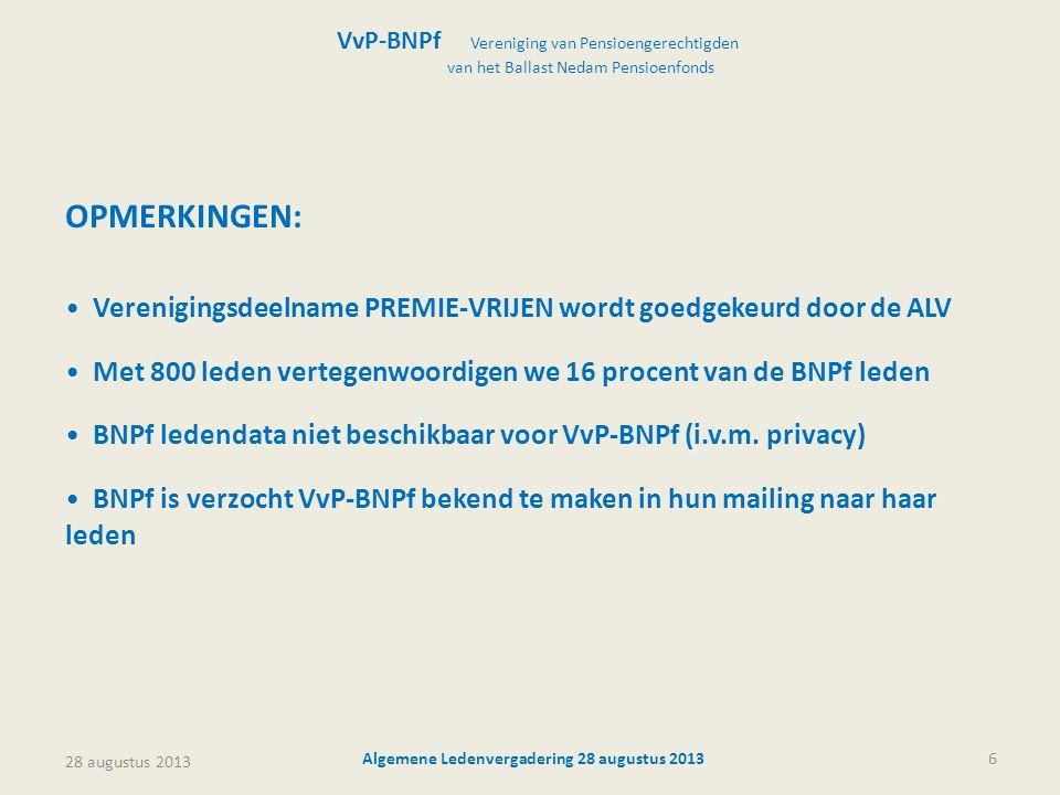 28 augustus 2013 Algemene Ledenvergadering 28 augustus 20136 VvP-BNPf Vereniging van Pensioengerechtigden van het Ballast Nedam Pensioenfonds OPMERKIN