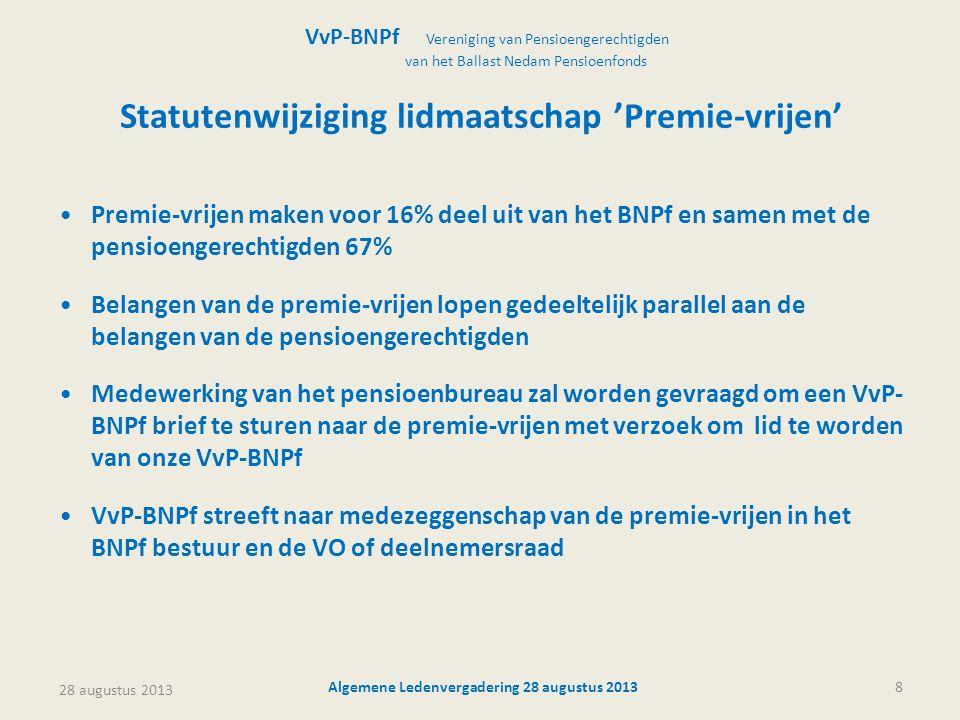 28 augustus 2013 Algemene Ledenvergadering 28 augustus 20138 Statutenwijziging lidmaatschap 'Premie-vrijen' •Premie-vrijen maken voor 16% deel uit van