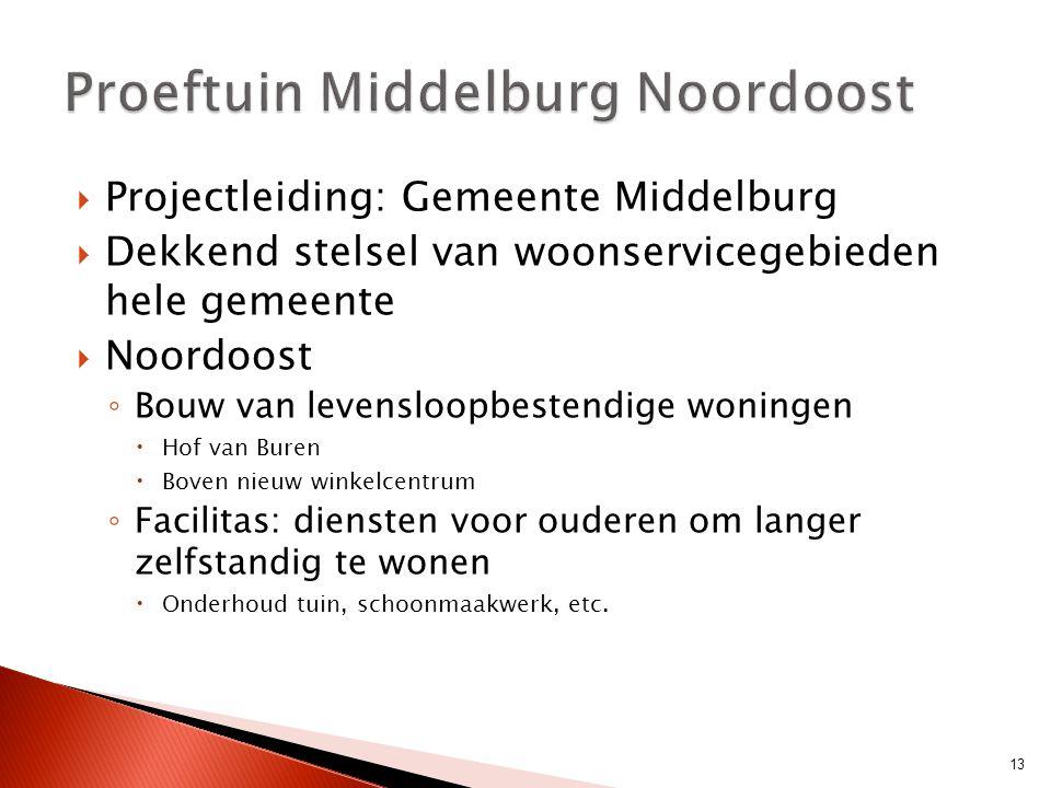  Projectleiding: Gemeente Middelburg  Dekkend stelsel van woonservicegebieden hele gemeente  Noordoost ◦ Bouw van levensloopbestendige woningen  H