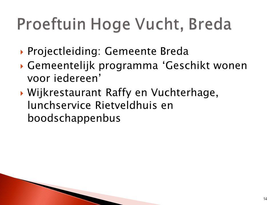  Projectleiding: Gemeente Breda  Gemeentelijk programma 'Geschikt wonen voor iedereen'  Wijkrestaurant Raffy en Vuchterhage, lunchservice Rietveldh