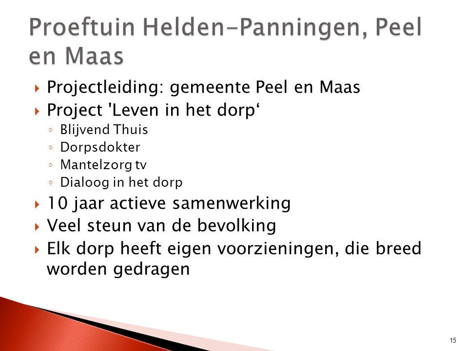  Projectleiding: gemeente Peel en Maas  Project 'Leven in het dorp' ◦ Blijvend Thuis ◦ Dorpsdokter ◦ Mantelzorg tv ◦ Dialoog in het dorp  10 jaar a
