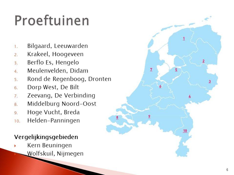 1. Bilgaard, Leeuwarden 2. Krakeel, Hoogeveen 3. Berflo Es, Hengelo 4. Meulenvelden, Didam 5. Rond de Regenboog, Dronten 6. Dorp West, De Bilt 7. Zeev