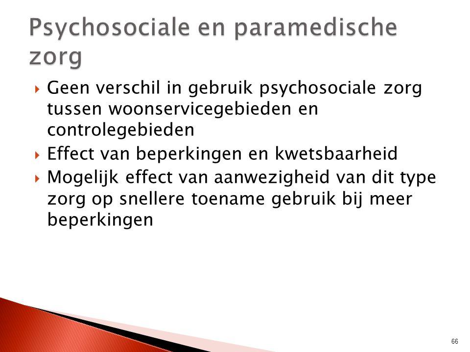  Geen verschil in gebruik psychosociale zorg tussen woonservicegebieden en controlegebieden  Effect van beperkingen en kwetsbaarheid  Mogelijk effe
