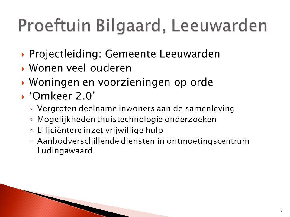  Projectleiding: Gemeente Leeuwarden  Wonen veel ouderen  Woningen en voorzieningen op orde  'Omkeer 2.0' ◦ Vergroten deelname inwoners aan de sam