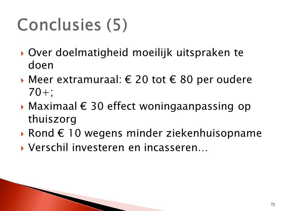  Over doelmatigheid moeilijk uitspraken te doen  Meer extramuraal: € 20 tot € 80 per oudere 70+;  Maximaal € 30 effect woningaanpassing op thuiszor