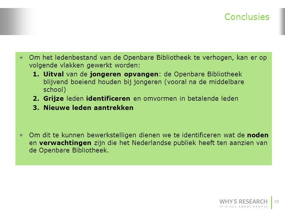 19 Conclusies  Om het ledenbestand van de Openbare Bibliotheek te verhogen, kan er op volgende vlakken gewerkt worden: 1.Uitval van de jongeren opvan