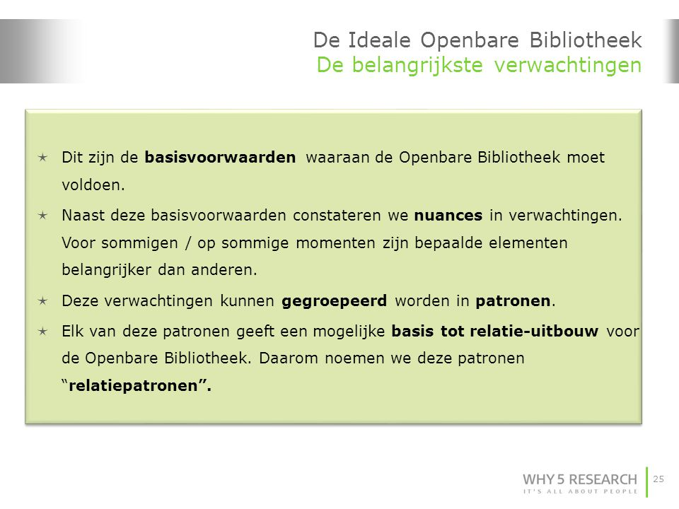 25 De Ideale Openbare Bibliotheek De belangrijkste verwachtingen  Dit zijn de basisvoorwaarden waaraan de Openbare Bibliotheek moet voldoen.  Naast