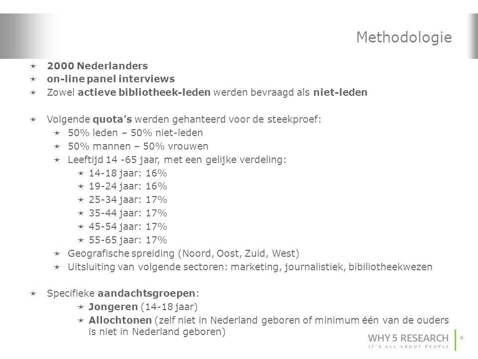 4  2000 Nederlanders  on-line panel interviews  Zowel actieve bibliotheek-leden werden bevraagd als niet-leden  Volgende quota's werden gehanteerd voor de steekproef:  50% leden – 50% niet-leden  50% mannen – 50% vrouwen  Leeftijd 14 -65 jaar, met een gelijke verdeling:  14-18 jaar: 16%  19-24 jaar: 16%  25-34 jaar: 17%  35-44 jaar: 17%  45-54 jaar: 17%  55-65 jaar: 17%  Geografische spreiding (Noord, Oost, Zuid, West)  Uitsluiting van volgende sectoren: marketing, journalistiek, bibiliotheekwezen  Specifieke aandachtsgroepen:  Jongeren (14-18 jaar)  Allochtonen (zelf niet in Nederland geboren of minimum één van de ouders is niet in Nederland geboren) Methodologie