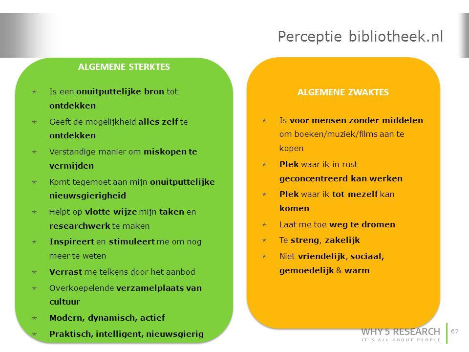 67 Perceptie bibliotheek.nl ALGEMENE STERKTES  Is een onuitputtelijke bron tot ontdekken  Geeft de mogelijkheid alles zelf te ontdekken  Verstandig