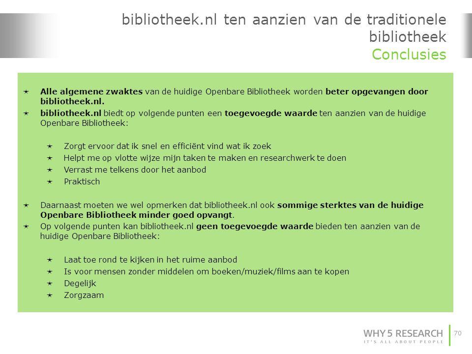 70 bibliotheek.nl ten aanzien van de traditionele bibliotheek Conclusies  Alle algemene zwaktes van de huidige Openbare Bibliotheek worden beter opgevangen door bibliotheek.nl.