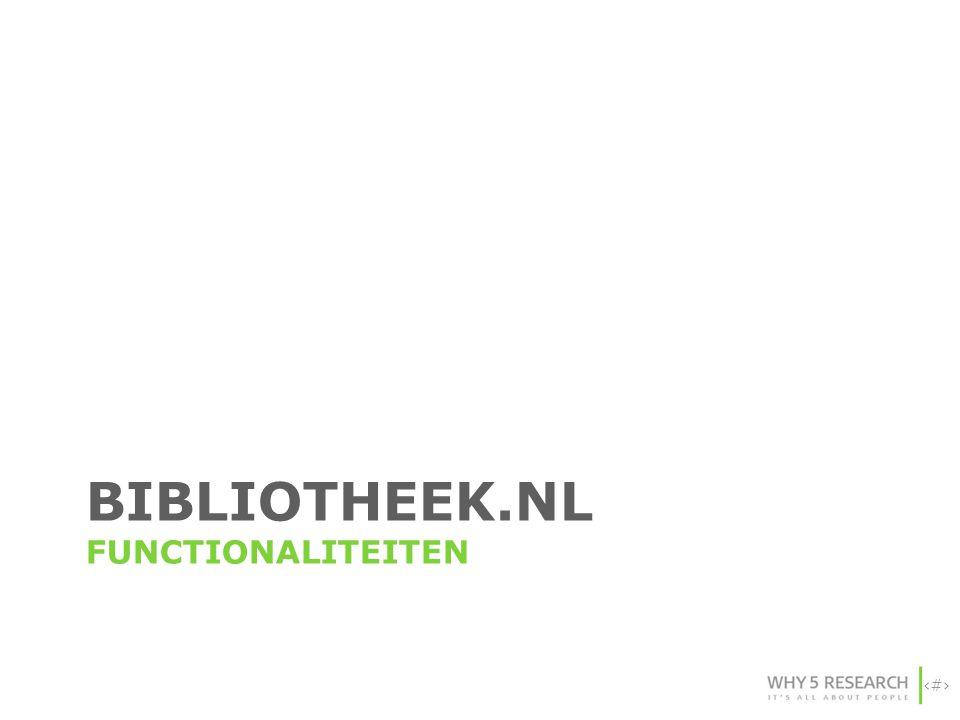 74 BIBLIOTHEEK.NL FUNCTIONALITEITEN