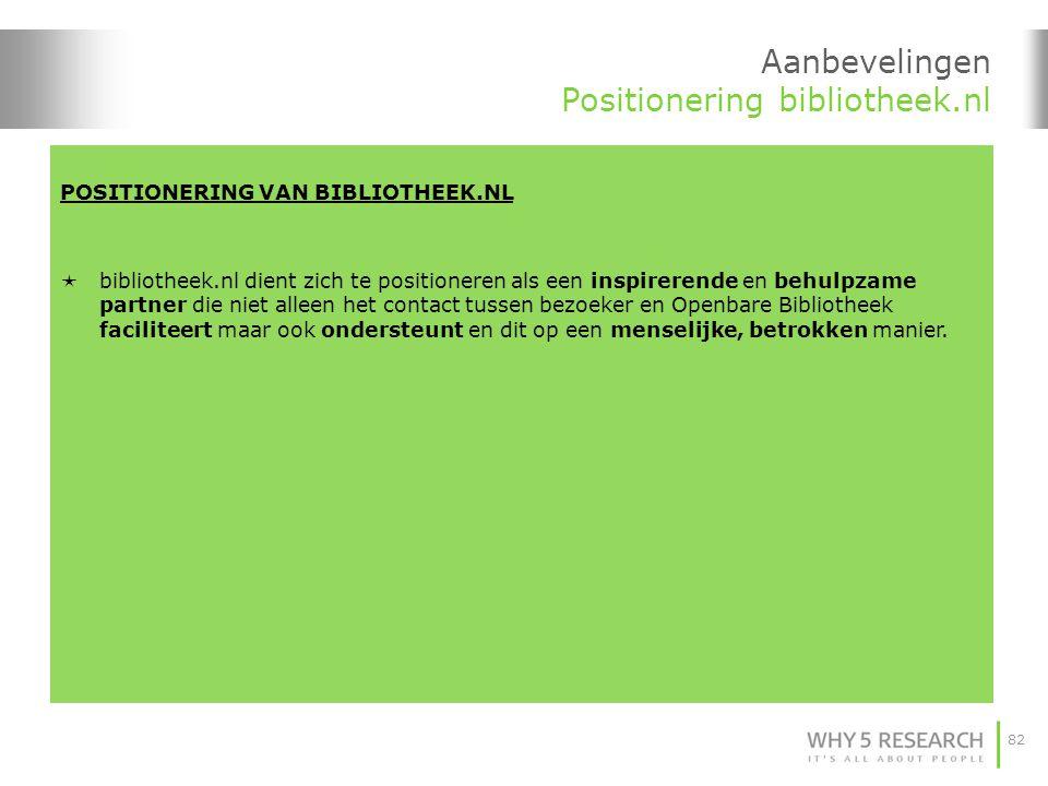 82 POSITIONERING VAN BIBLIOTHEEK.NL  bibliotheek.nl dient zich te positioneren als een inspirerende en behulpzame partner die niet alleen het contact tussen bezoeker en Openbare Bibliotheek faciliteert maar ook ondersteunt en dit op een menselijke, betrokken manier.