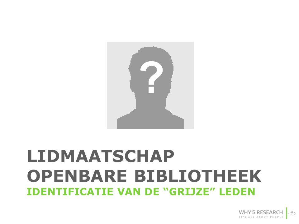 """9 LIDMAATSCHAP OPENBARE BIBLIOTHEEK IDENTIFICATIE VAN DE """"GRIJZE"""" LEDEN"""