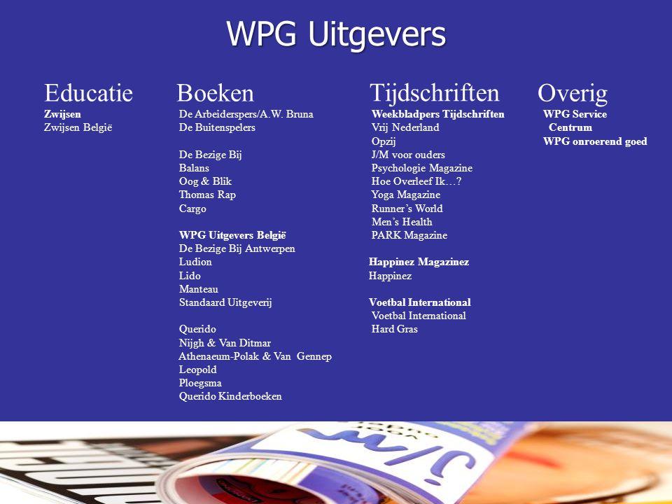 WPG Uitgevers Educatie Zwijsen Zwijsen België Boeken De Arbeiderspers/A.W. Bruna De Buitenspelers De Bezige Bij Balans Oog & Blik Thomas Rap Cargo WPG