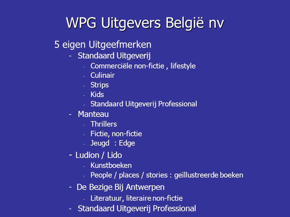 WPG Uitgevers België nv 5 eigen Uitgeefmerken - Standaard Uitgeverij - Commerciële non-fictie, lifestyle - Culinair - Strips - Kids - Standaard Uitgev