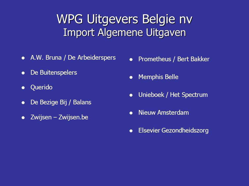 WPG Uitgevers Belgie nv Import Algemene Uitgaven  A.W. Bruna / De Arbeiderspers  De Buitenspelers  Querido  De Bezige Bij / Balans  Zwijsen – Zwi