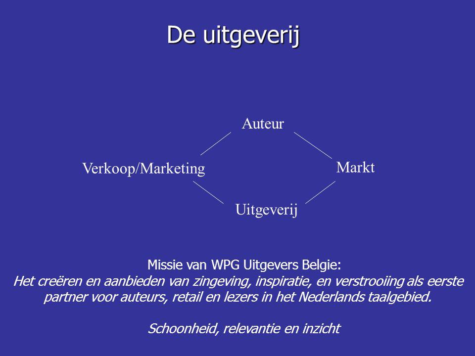 De uitgeverij Auteur Verkoop/Marketing Markt Uitgeverij Missie van WPG Uitgevers Belgie: Het creëren en aanbieden van zingeving, inspiratie, en verstr