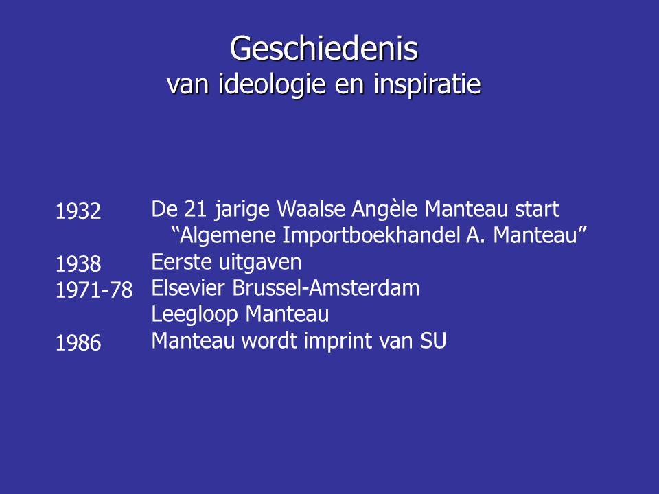 """1932 1938 1971-78 1986 De 21 jarige Waalse Angèle Manteau start """"Algemene Importboekhandel A. Manteau"""" Eerste uitgaven Elsevier Brussel-Amsterdam Leeg"""