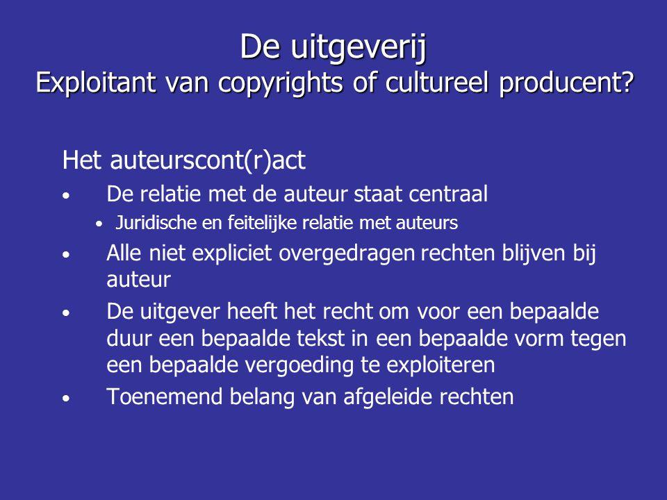 Het auteurscont(r)act • De relatie met de auteur staat centraal • Juridische en feitelijke relatie met auteurs • Alle niet expliciet overgedragen rech