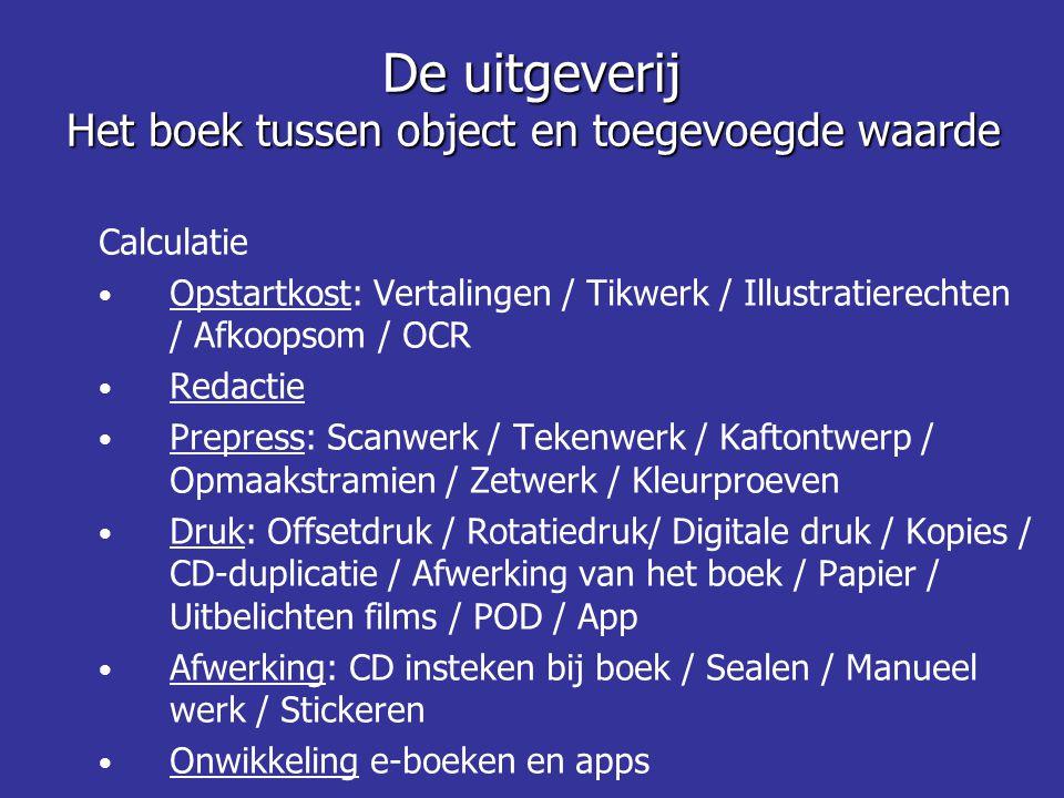 De uitgeverij Het boek tussen object en toegevoegde waarde Calculatie • Opstartkost: Vertalingen / Tikwerk / Illustratierechten / Afkoopsom / OCR • Re