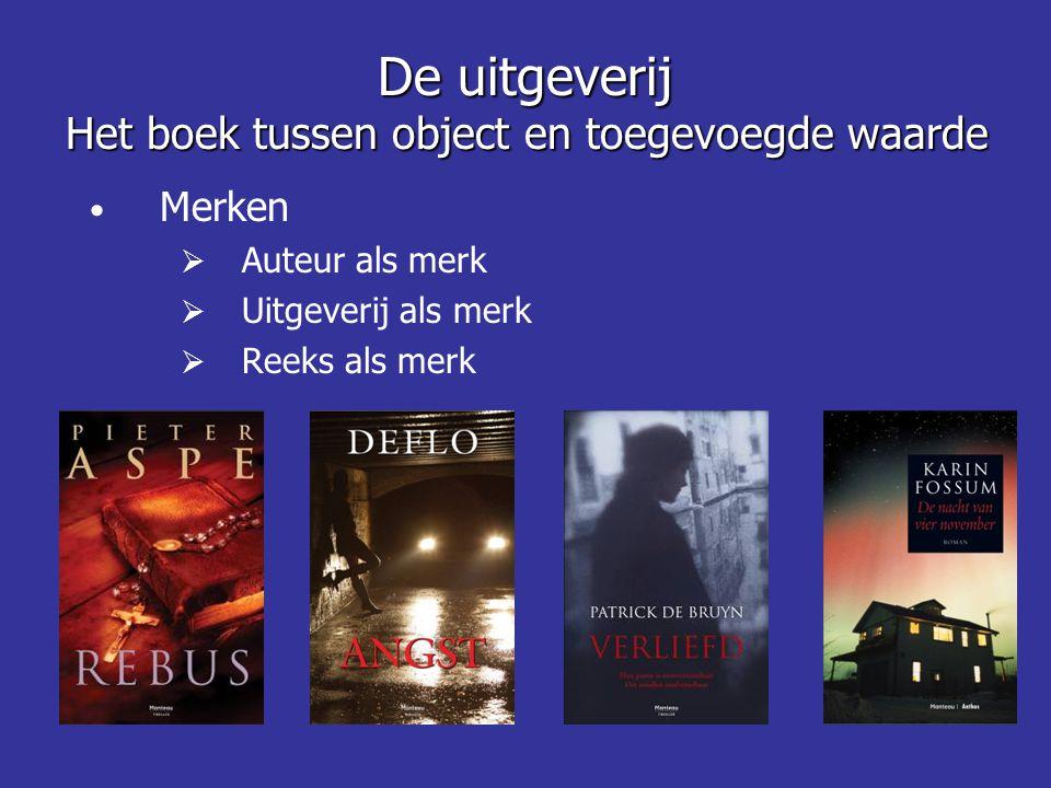 • Merken  Auteur als merk  Uitgeverij als merk  Reeks als merk De uitgeverij Het boek tussen object en toegevoegde waarde
