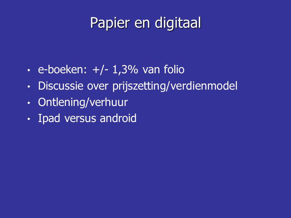 • e-boeken: +/- 1,3% van folio • Discussie over prijszetting/verdienmodel • Ontlening/verhuur • Ipad versus android Papier en digitaal