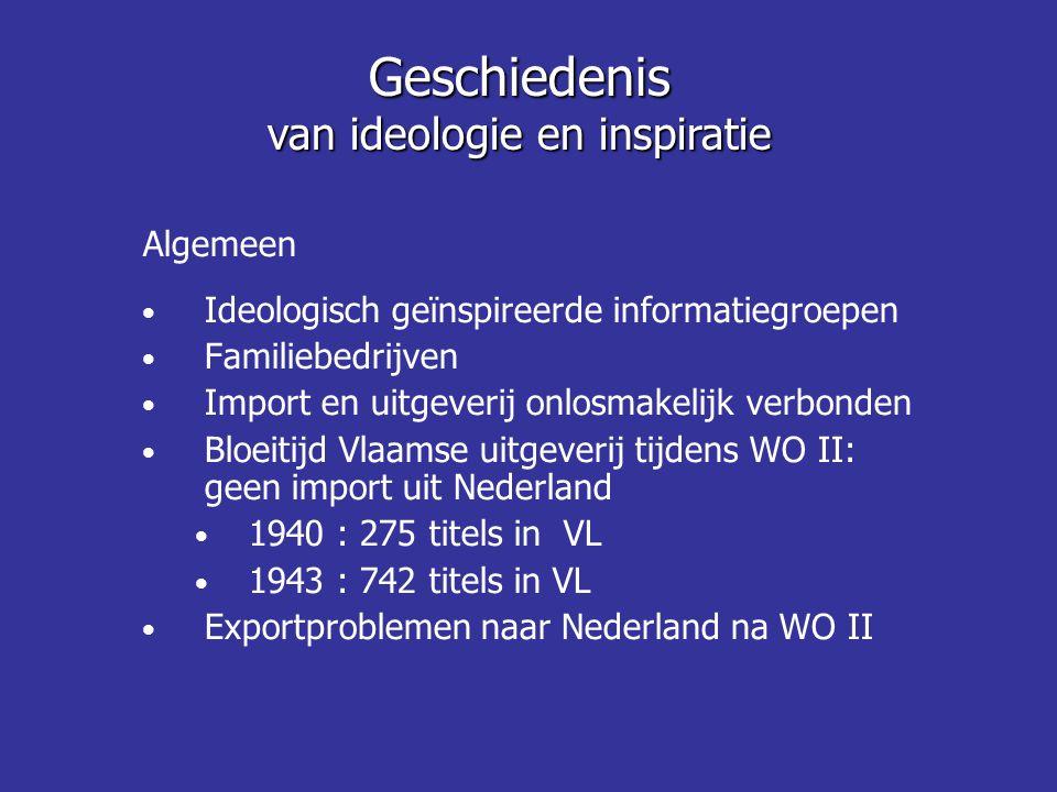 Algemeen • Ideologisch geïnspireerde informatiegroepen • Familiebedrijven • Import en uitgeverij onlosmakelijk verbonden • Bloeitijd Vlaamse uitgeveri