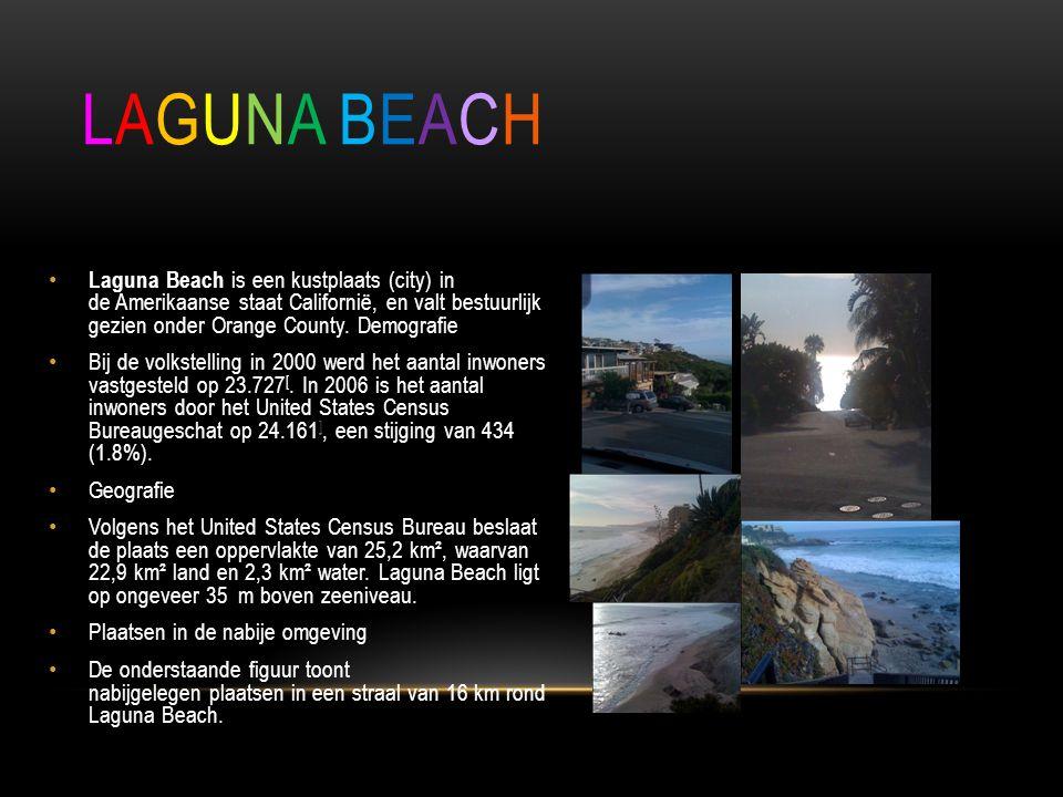 • Laguna Beach is een kustplaats (city) in de Amerikaanse staat Californië, en valt bestuurlijk gezien onder Orange County.