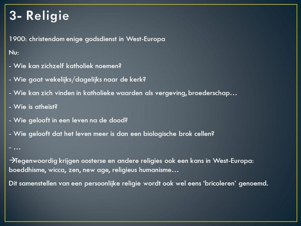 1900: christendom enige godsdienst in West-Europa Nu: - Wie kan zichzelf katholiek noemen.