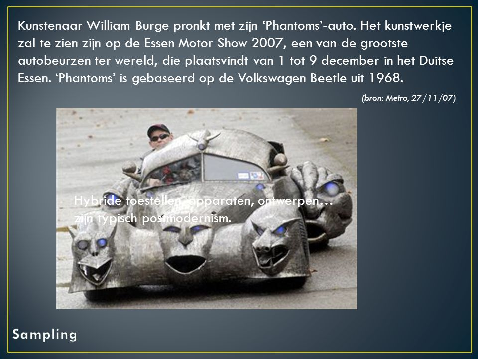 Kunstenaar William Burge pronkt met zijn 'Phantoms'-auto.
