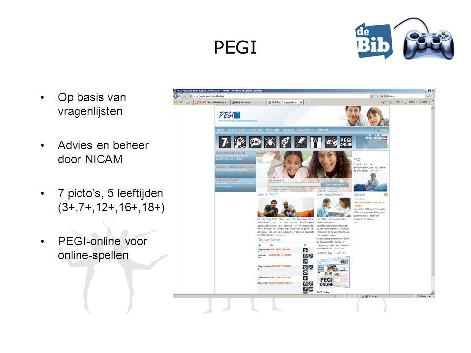 PEGI •Op basis van vragenlijsten •Advies en beheer door NICAM •7 picto's, 5 leeftijden (3+,7+,12+,16+,18+) •PEGI-online voor online-spellen