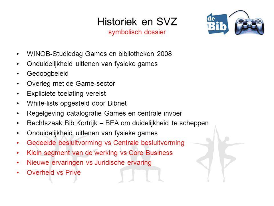 Historiek en SVZ symbolisch dossier •WINOB-Studiedag Games en bibliotheken 2008 •Onduidelijkheid uitlenen van fysieke games •Gedoogbeleid •Overleg met