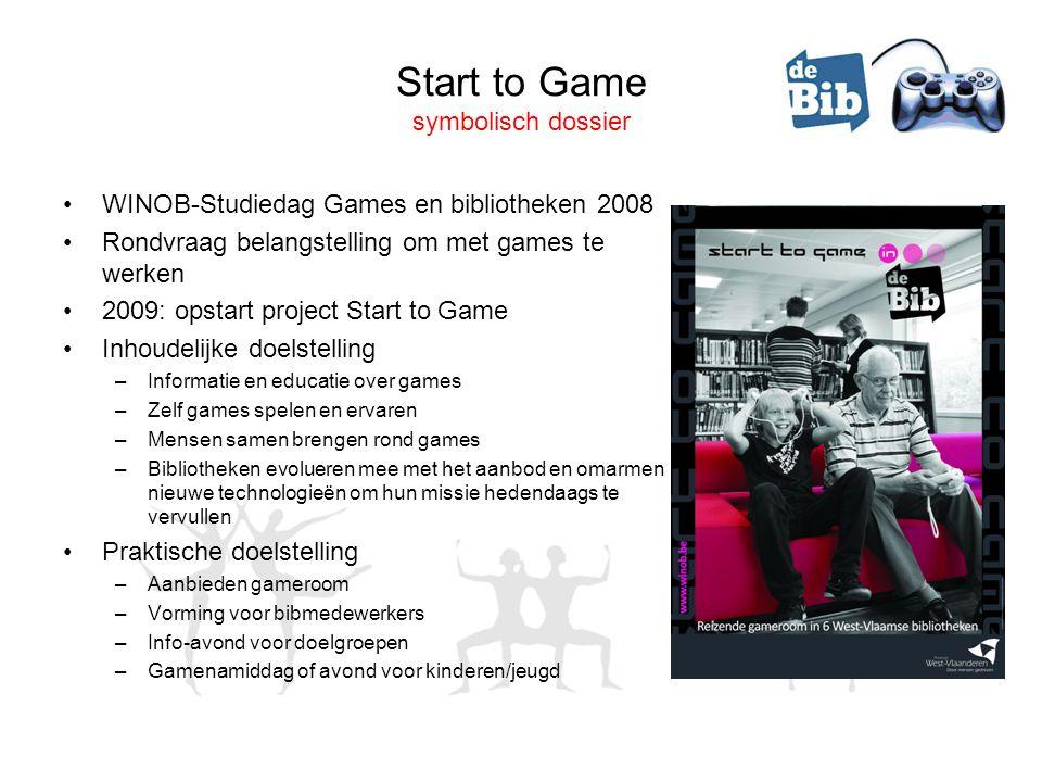 Start to Game symbolisch dossier •WINOB-Studiedag Games en bibliotheken 2008 •Rondvraag belangstelling om met games te werken •2009: opstart project S