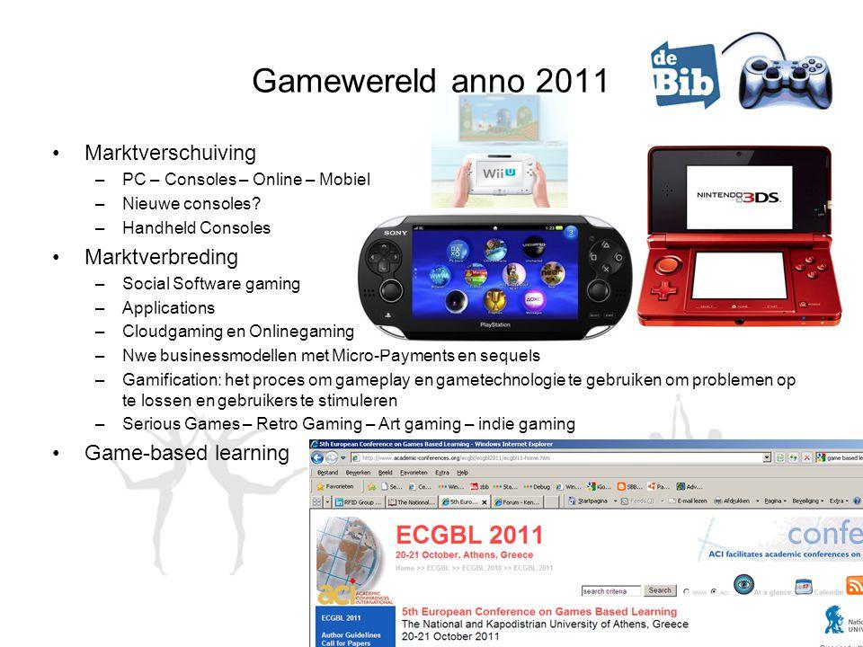 Gamewereld anno 2011 •Marktverschuiving –PC – Consoles – Online – Mobiel –Nieuwe consoles? –Handheld Consoles •Marktverbreding –Social Software gaming