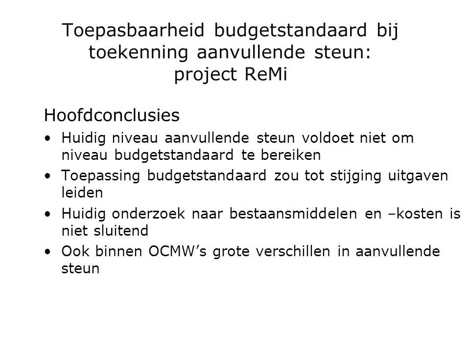 Toepasbaarheid budgetstandaard bij toekenning aanvullende steun: project ReMi Hoofdconclusies •Huidig niveau aanvullende steun voldoet niet om niveau