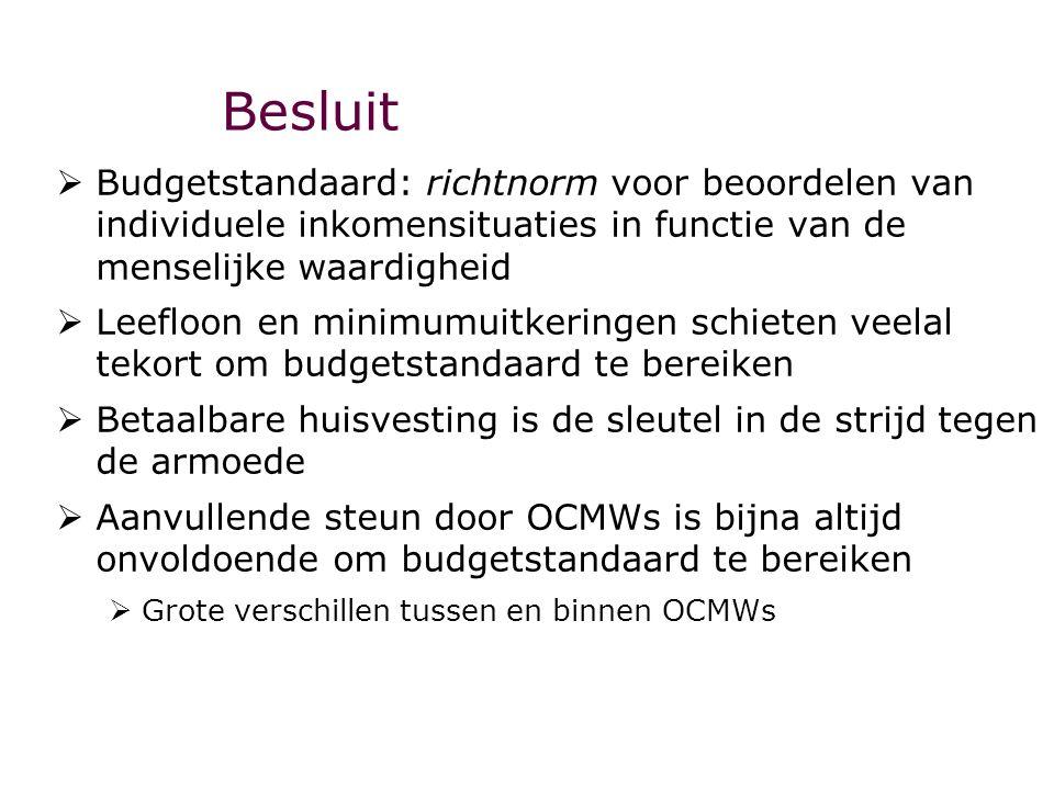 Besluit  Budgetstandaard: richtnorm voor beoordelen van individuele inkomensituaties in functie van de menselijke waardigheid  Leefloon en minimumui