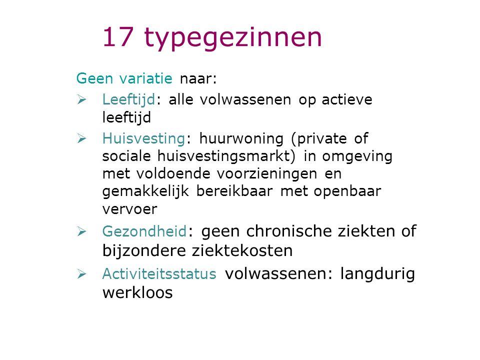 17 typegezinnen Geen variatie naar:  Leeftijd: alle volwassenen op actieve leeftijd  Huisvesting: huurwoning (private of sociale huisvestingsmarkt)