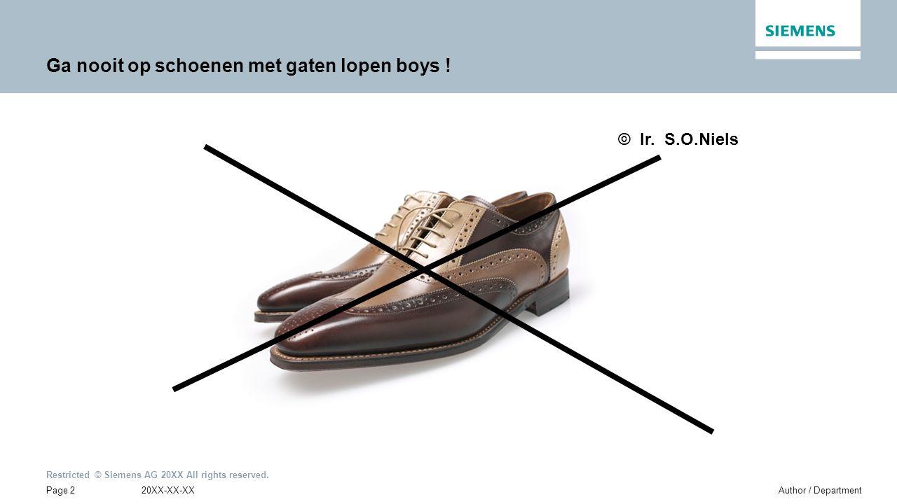 Restricted © Siemens AG 20XX All rights reserved. Ga nooit op schoenen met gaten lopen boys .