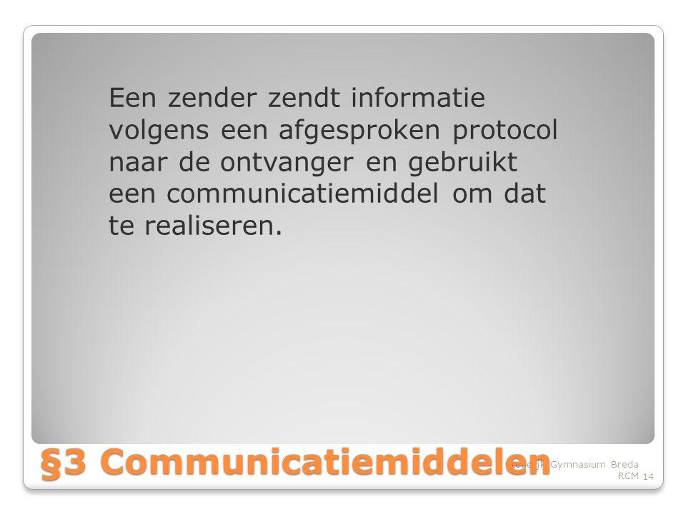 Een zender zendt informatie volgens een afgesproken protocol naar de ontvanger en gebruikt een communicatiemiddel om dat te realiseren.