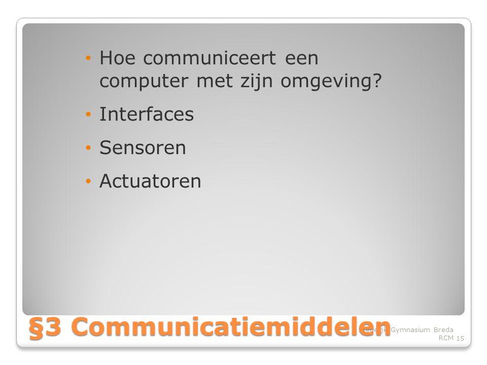 • Hoe communiceert een computer met zijn omgeving.