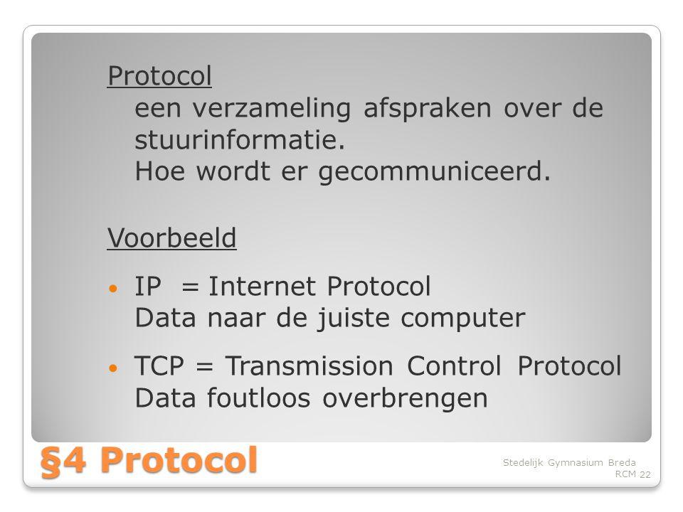 Protocol een verzameling afspraken over de stuurinformatie.