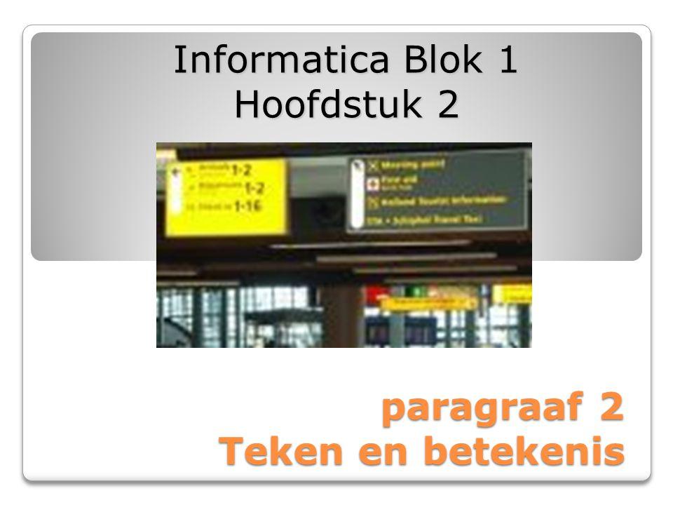 paragraaf 2 Teken en betekenis Informatica Blok 1 Hoofdstuk 2