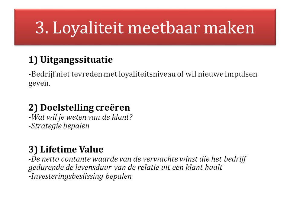 3. Loyaliteit meetbaar maken 1) Uitgangssituatie -Bedrijf niet tevreden met loyaliteitsniveau of wil nieuwe impulsen geven. 2) Doelstelling creëren -W