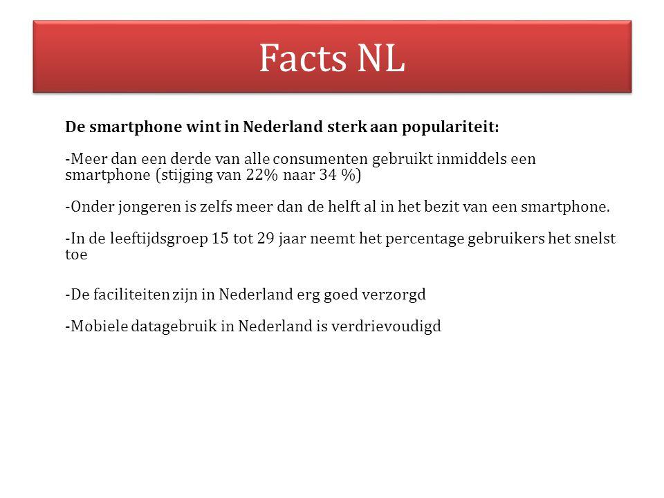 Facts NL De smartphone wint in Nederland sterk aan populariteit: -Meer dan een derde van alle consumenten gebruikt inmiddels een smartphone (stijging